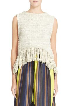 'Pablita' Fringe Trim High Low Knit Tank Top