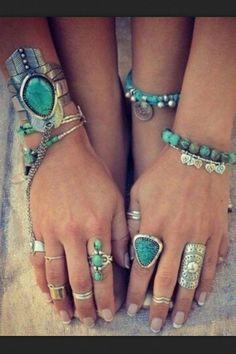 Silver Boho Rings Boho chic style stacked