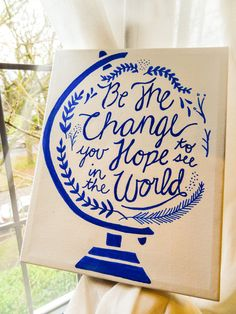 Hey, I found this really awesome Etsy listing at https://www.etsy.com/listing/214767797/be-the-change-custom-quote-canvas