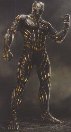 In this new batch of concept art from Black Panther, we get to see a number of different designs for Erik Killmonger's Golden Jaguar suit, including different colours and plenty of fearsome alterations. Marvel Dc, Marvel Comic Universe, Marvel Comics Art, Marvel Heroes, Marvel Characters, Black Panther Images, Black Panther Art, Black Panther Marvel, Black Panther Villain
