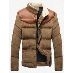 Stand Collar Plus Size PU Leather Spliced Corduroy Flocking Jacket