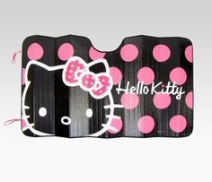 Your car interior stays cool on hot days from the sun's heat and harsh rays with this fun Hello Kitty Car Sunshade. Hello Kitty sunshade features fun and friendly pink polka dots.