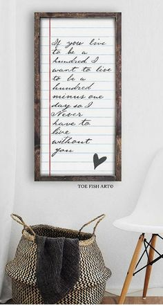 "Love it! This ""If You Live to Be a Hundred"" Winnie the Pooh Quote is great. Would be perfect for a nursery. Typography Word Art, Notebook Style, wood sign, rustic, farmhouse, book page, wall decor #farmhousestyle #ad"