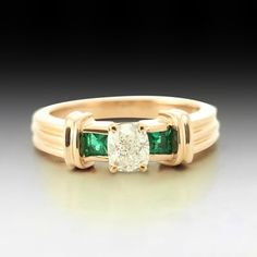 3 stone cushion cut engagement ring made in solid Rose Gold