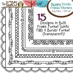 Square Doodle Frames & Borders!  $