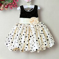 New Girls Party Formal Bridesmaid Flower Occasion Dot Cream Dress Age 2 3 4 5 6 £21.99