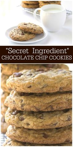 Secret Ingredient Chocolate Chip Cookies I really think this is one of the best chocolate chip cookie recipes out there! Secret Chocolate Chip Cookie Recipe, Chocolate Chip Recipes, Homemade Chocolate, Chocolate Cookies, Chocolate Chips, Doubletree Chocolate Chip Cookie Recipe, Hotel Chocolate, Biscuits, Recipe Girl