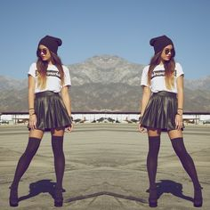 Brashy Couture Supermarket Tee, Asos Hearts And Bows Skater Skirt, American Apparel Over The Knee Sock, Urban Outfitters Platform Heel