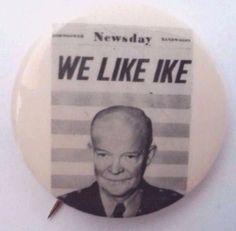 WE LIKE IKE - 1952 Headline Endorsement button - Eisenhower for President - RARE