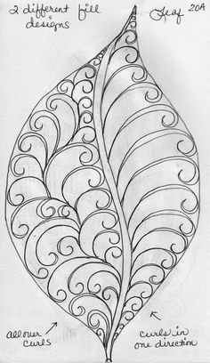 More Leaf Designs from My Quilting Sketch Book... This leaf has no vein sections... instead each half of the leaf is filled in with 2 different curl patterns. This leaf has veins... each sepa