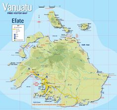 Tourist guide to the island of Efate in Vanuatu Vanuatu Port Vila, Fiji Travel, Tourist Map, Island Map, Island Nations, Tahiti, Bora Bora, Cook Islands, South Pacific