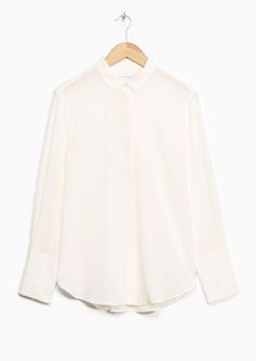 & Other Stories image 1 of Wide Cuff Silk Shirt in White