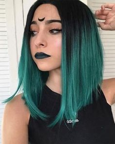 Women's with Baby Hair / Cosplay / Party Green Wigs Kinky Straight Minaj Style Side Part Lace Front Wig Green Black / Green Hair Black And Green Hair, Green Wig, Green Hair Colors, Hair Color Purple, Hair Dye Colors, Blue Hair, Ombre Green, Short Teal Hair, Green Hair Streaks