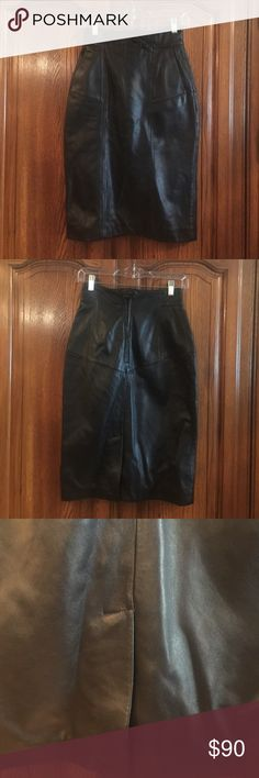 """Pellet Studio Vintage Leather Pencil Skirt EUC size 6. The waist measures 12.5"""" flat. It measures 26"""" long. The hips measure approximately 17"""". It has a back zipper and snap closure. Two front pockets. This is a high waisted skirt Vintage Skirts Pencil"""