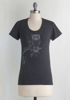 Owl have this one.    Out on a Whim Tee - Black, Print with Animals, Short Sleeves, Good, Mid-length, Jersey, Knit, Casual, Owls, Scoop, Halloween, Black, Short Sleeve, Critters, Woodland Creature