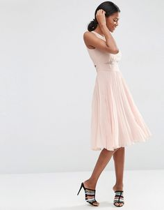ASOS Sheer And Solid Pleated Midi Dress