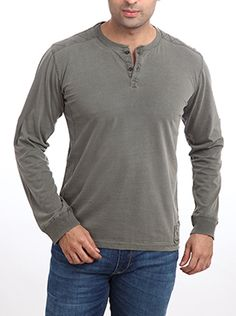 Discover yourself with the wide varieties of T-shirts by Parx. The one, must-have in your wardrobe is this T-shirt. This slim fit T-shirt with a crew neck and a short button placket is designed using fine cotton rich material. It gives a sweat-free and fresh look. It is so comfortable that it can be carried easily throughout the day. The long sleeves give an authentic vintage look to redefine the fashion statement. It can be paired well with any denims and plimsolls for a classic look. Plimsolls, Casual T Shirts, Classic Looks, Vintage Looks, Crew Neck, Slim, Fresh, Button, Long Sleeve
