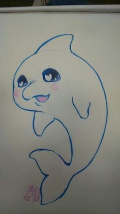 Kawaii dolphin I drew for a friend at school by Rainbow Dynasty