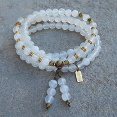 108 bead mala white agate wrap bracelet or necklace by #lovepray #jewelry