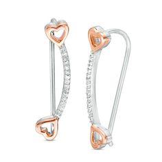 Zales 1/10 CT. T.w. Diamond Leaf Vine Crawler Earrings in Sterling Silver qlTZ9q