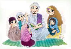 I love my family Cute Muslim Couples, Muslim Girls, Muslim Women, Islamic Cartoon, Anime Muslim, Hijab Cartoon, Muslim Family, Love In Islam, Couple Cartoon