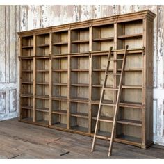 Farmhouse Antique Wall Shelf Unit with Ladder (Farmhouse Furniture & Decor). Farmhouse Antique Wall Shelf Unit with Ladder Wooden Cabinet with brass pole and ladder. 6 pull out platforms. 142 X 17 X 95 Antique Farmhouse, Farmhouse Furniture, Rustic Furniture, Antique Furniture, Cheap Furniture, Discount Furniture, Office Furniture, Furniture Decor, Farmhouse Bookcases