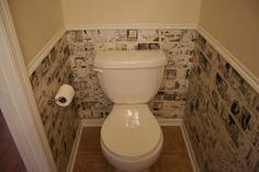 Toilet kamertje vindingrijk behangen met Decoupagetechniek.
