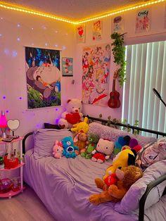 Indie Bedroom, Indie Room Decor, Cute Bedroom Decor, Room Design Bedroom, Room Ideas Bedroom, Bedroom Inspo, Neon Room, Retro Room, Cute Room Ideas