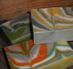 Tie Dye Soaps at Dindi Naturals, scented with kaffir lime essential oil and colours derived from plant extracts and clay.