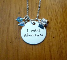 Beauty and the Beast Inspired Necklace. Belle: I want adventure. Silver colored, Swarovski crystal, for women or girls