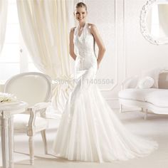 Lace 2015 New Arrival Bridal Gowns Sash Sheath Tulle crystals pleats Beads Pleated Fold Vestidos Pearls Applique Wedding Dress