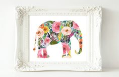 Printable Wall Art Elephant printable art por GracieLouPrintables
