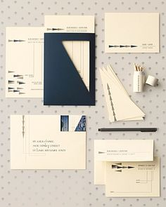 Love the angularity and the mix of engineer/math into the invitations.