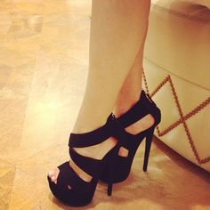 pretty, high heels, shoes, black