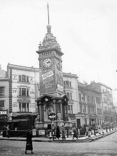 Monochrome photographic print of The Clock Tower, North Street, Brighton with sandbagged Police Post, during the Second World War. Brighton Rock, Brighton Sussex, Brighton England, Brighton And Hove, England Uk, East Sussex, Police Post, Images Of England, Somewhere In Time