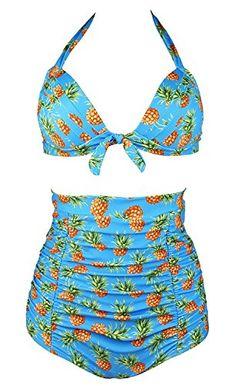 bd7afc16a3 Juliarode Women Retro 50s Floral Halter High Waist Bikini Carnival Swimsuit  Bikinis