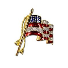 Waving American Flag Pin/Brooch - Gold-plate American flag pin with enamel and crystals.  Price: $20.00  #waving flag brooch, #waving flag pin, #American flag pin, #American flag brooch, #patriotic pin, #patriotic brooch, #US flag pin, #US flag brooch