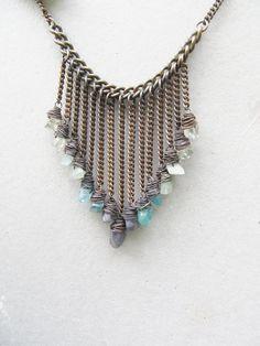 Ombre Statement Necklace Raw Gemstone Bib Necklace Rustic Jewelry DanielleRoseBean Ombre Fringe Necklace Wire Wrap Statement Necklace on Etsy, $158.00
