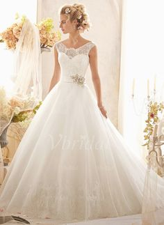 Wedding Dresses - $232.03 - Ball-Gown Scoop Neck Chapel Train Organza Satin Lace Wedding Dress With Beading Sequins (00205003309)