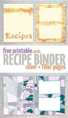Recipe Binder Cover Page Arts Crafts