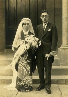 Before the war, the bride and groom at the Tokyo Hiroo