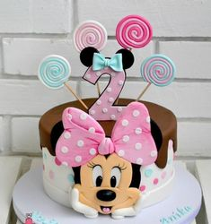 Minnie Kuchen - Geburtstagstorte - You are in the right place about happy Birthday Cake Here we offer you the most beautiful pictures about the Birthday Cake harry Minni Mouse Cake, Mickey And Minnie Cake, Bolo Minnie, Minnie Mouse Birthday Cakes, Mickey Cakes, Baby Birthday Cakes, Mickey Mouse Birthday, 2nd Birthday, Cake Baby