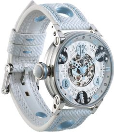 M Watch Golf Master Ladies Light Blue Hands- Watch Available to buy online. White Watches For Men, Fancy Watches, Luxury Watches For Men, Wrist Watches, Brm Watches, Swiss Automatic Watches, Lady Grey, Telling Time, Bracelet Watch