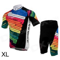 Brand: INBIKE; Quantity: 1; Color: Multicolor; Material: Jersey: Polyester; shorts: 12% spandex + 88% polyester; Size: XL; Gender: Men's; Best use: cycling; Suitable for: Adults; Length: 77 cm; Shoulder Width: 44 cm; Chest Girth: 106 cm; Suitable for Height: 173-178 cm; Features: Comfortable cushion cycling shorts; Best protection and comfort for long rides; With back pocket; Packing List: 1 x Jersey1 x Shorts; http://j.mp/1q1lKYW