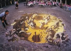 Is the end really coming soon? 3D Realistic Street Painting with Chalks