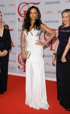 Selita Ebanks in a white BCBGMAxAzria gown for 2012 #CFDA Fashion Awards