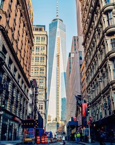 If you find yourself in Lower Manhattan, make sure to stop by the corner of Fulton and Nassau Streets. The intersection offers a direct view of the One World Trade Center, which lines up perfectly in the middle of the street.