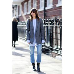Alexa Chung Leads The Cropped Flare Trend At London Fashion Week ❤ liked on Polyvore featuring photos and pictures