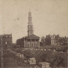 John's Church (Episcopal) in New York City, destroyed when Varick Street was widened × Abandoned Churches, Abandoned Places, St John's Church, Episcopal Church, New York Architecture, Vintage Architecture, New York City Pictures, New Amsterdam, Lower East Side