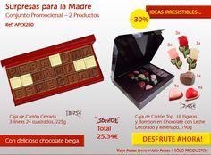 ¿Usted sabe que las promociones de mayo? ¡Deliciosas sorpresas en el chocolate! Chocolate, Relleno, Mayo, Bonbon, Messages, Carton Box, Crates, Chocolates, Brown